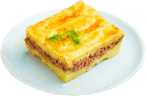 Картофельная запеканка с субпродуктами